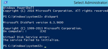 diskpart ошибка The service failed to initialize Virtual Disk Service