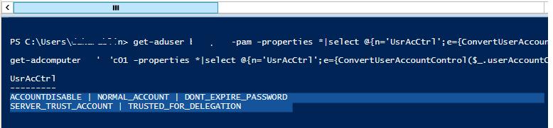 get-aduser используем функцию для конвертации userAccountControl в текст