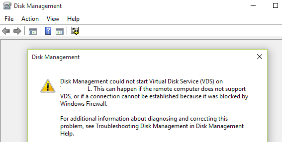 Программе администрирования дисков не удается запустить службу виртуальных дисков