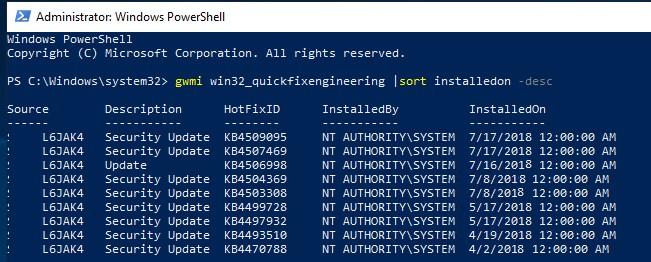 qwmi как узнать дату установки последних обновлений безопасности windows