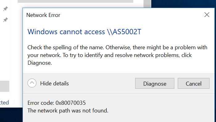 Windows 10 1803 ошибка 0x80070035 The network path not found