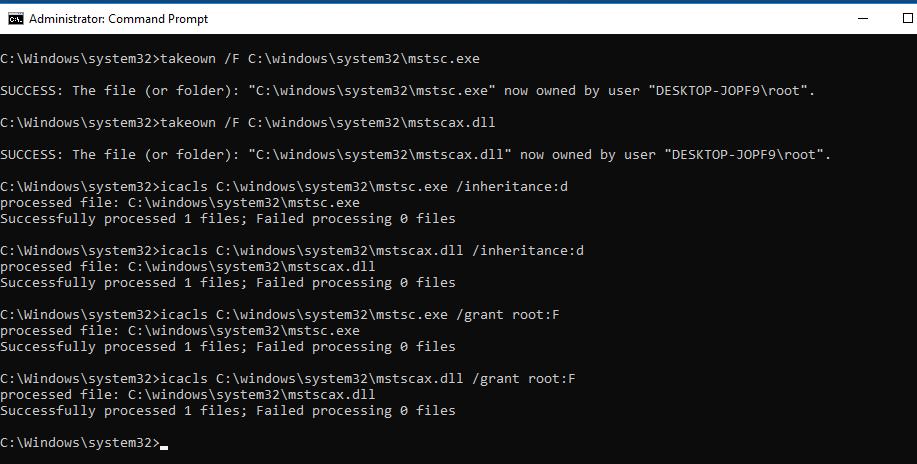 замена mstsc.exe и mstscax.dll в Windows 10 1803 / 1709.