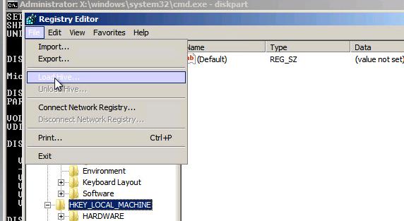 Load Hive загрузить файл реестра с диска