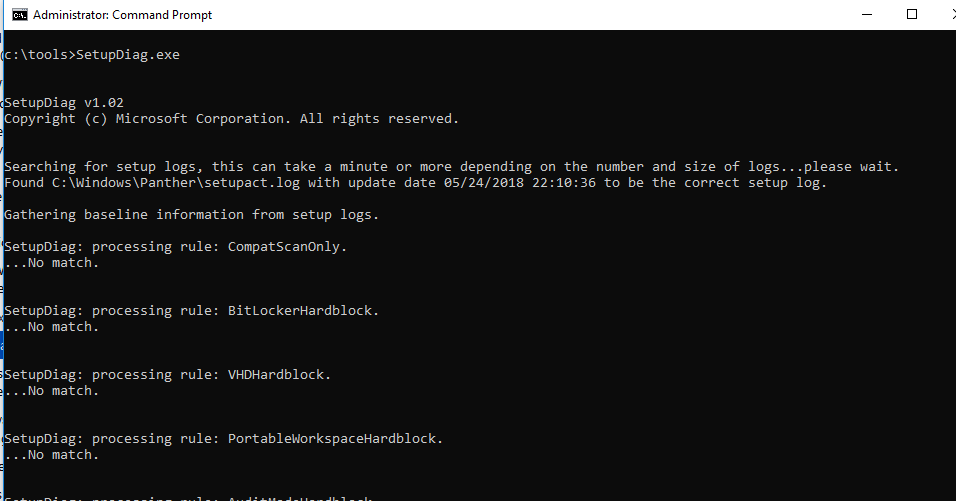 SetupDiag.exe - утилита диагностики ошибок апгрейда версии Windows 10