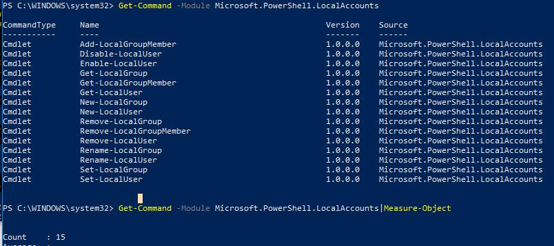 Модуль Microsoft.PowerShell.LocalAccounts