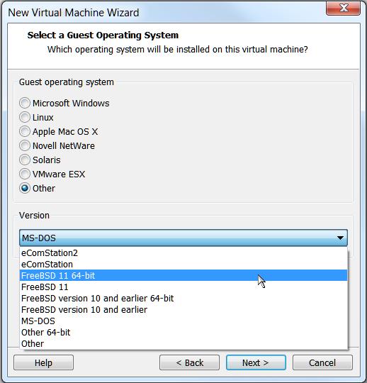 VMware Workstation - ОС FreeBSD 11 64 bit