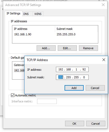 добавить второй ip адрес в windows 10