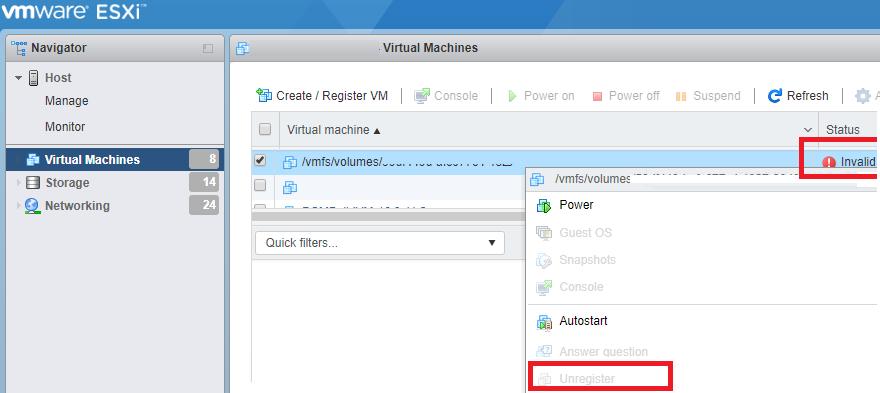 Invalid виртуальная машина на vmware esxi