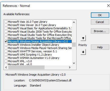 подключение библиотеки выберите Microsoft Windows Image Acquisition Library v2.0