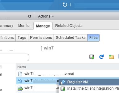 Register VM - зарегистрировать ВМ на хосте esxi
