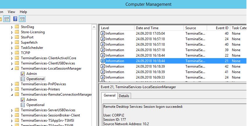 Remote Desktop Services: Session logon succeeded
