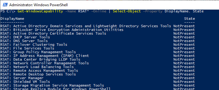 Get-WindowsCapability State