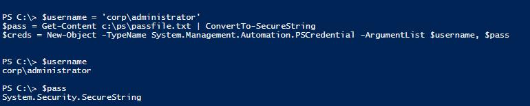 получение пароля из файла с помощью ConvertTo-SecureString