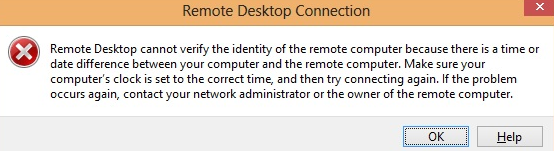 Сеанс удаленного рабочего стола не может проверить подлинность удаленного компьютера, поскольку обнаружено различие во времени или текущей дате между этим компьютером и удаленным компьютером
