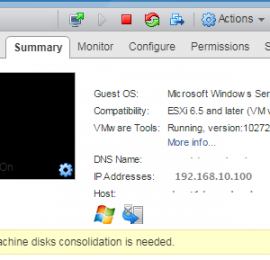virtual machine disk consolidation is needed