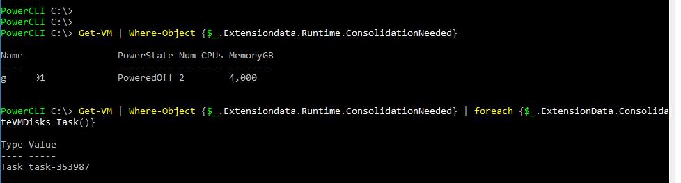 PowerCLI выполнить консолидацию ConsolidateVMDisks_Task