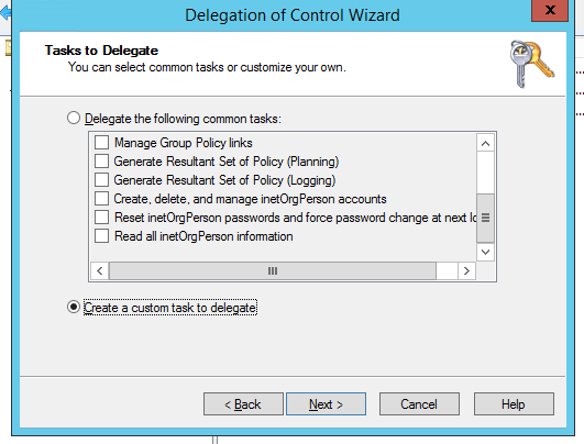 Create a custom task to delegate