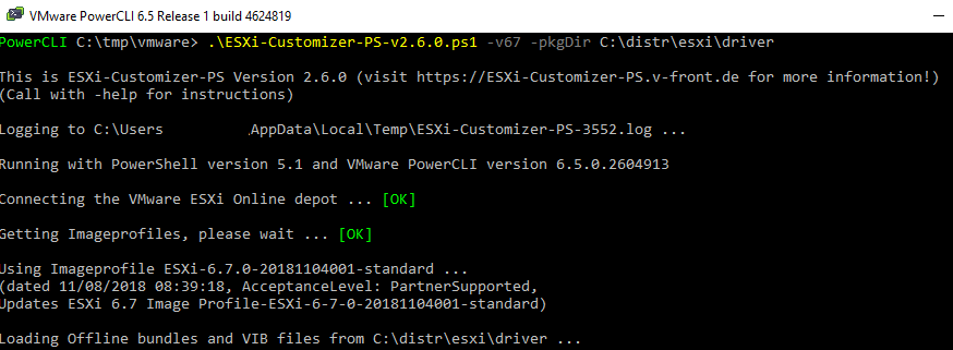ESXi-Customizer-PS-v2.6.ps1 интеграция vib драйверов в обараз esxi