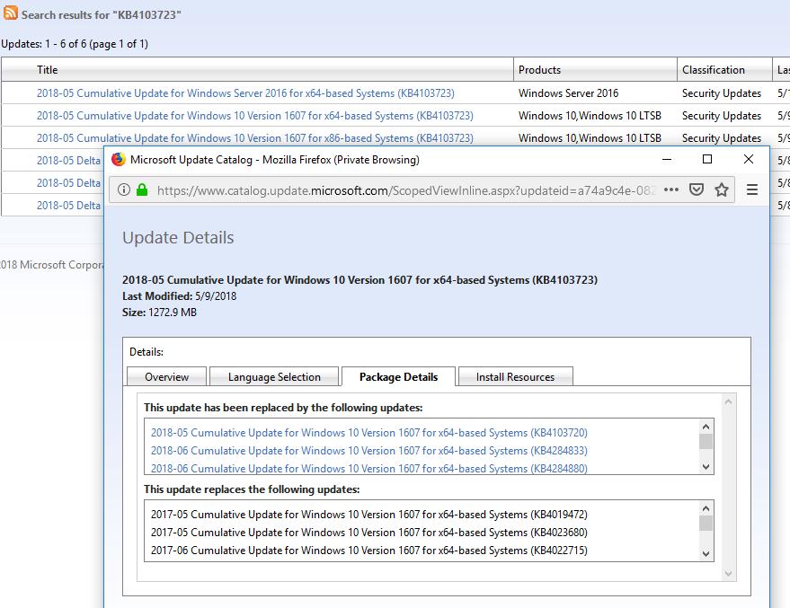 информация об обновлении в каталоге обновлений Microsoft