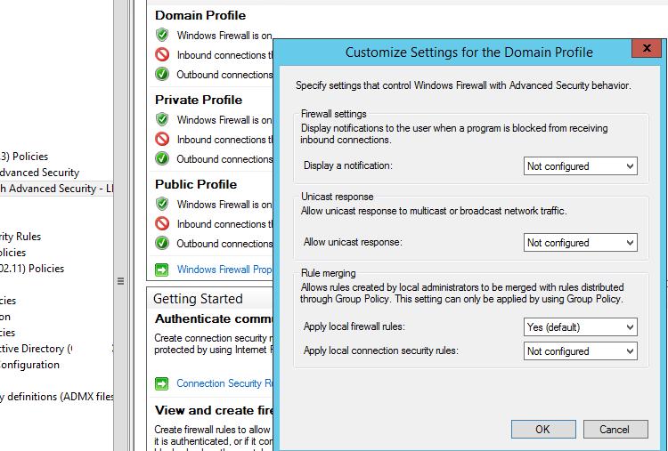 правила объединения локальных и доменных правил Брандмауэра Защитника Windows
