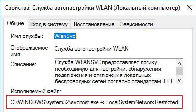 Служба автонастройки WLAN (WLAN AutoConfig) svchost.exe