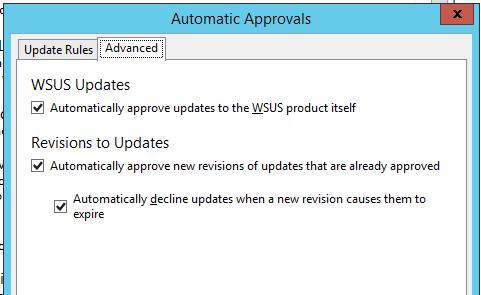 одобрение обновлений для службы wsus
