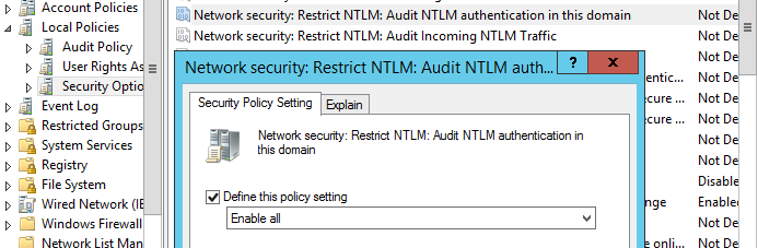 аудит NTLM аутентификации Network Security: Restrict NTLM: Audit NTLM authentication in this domain