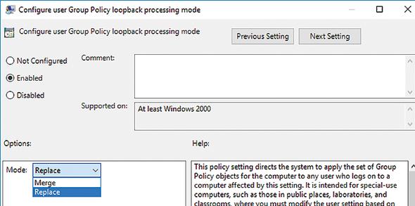 Configure user Group Policy Loopback Processing mode - Замыкание групповой политики