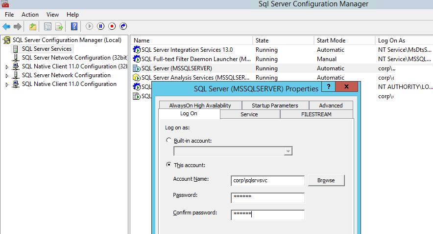 измените учетную запись для запуска службы SQL Server (MSSQLSERVER),
