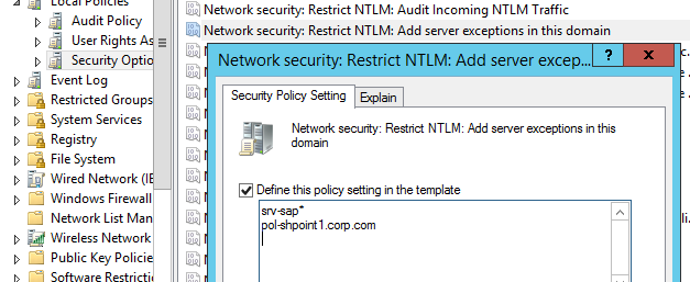 Network security: Restrict NTLM: Add server exceptions for NTLM authentication in this domain