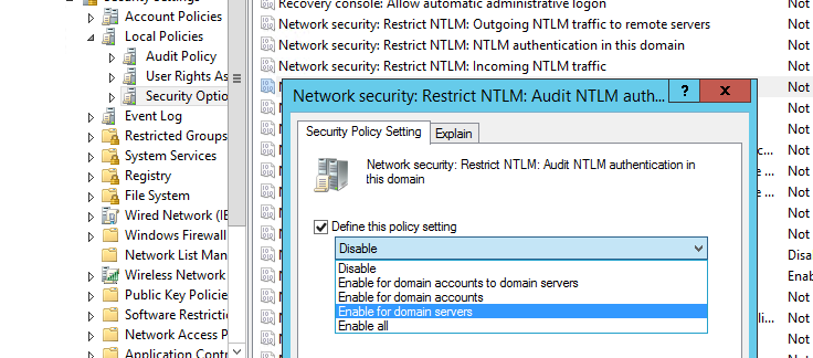 Network Security: Restrict NTLM: NTLM authentication in this domain