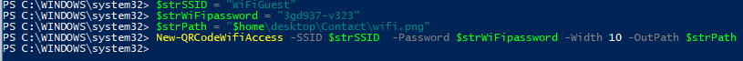New-QRCodeWifiAccess SSID