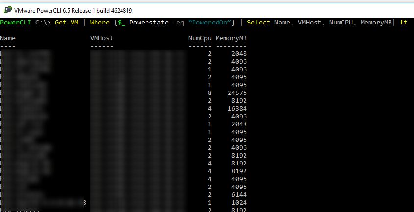 powercli вывести список включенных виртуальных машин в vmware vsphere