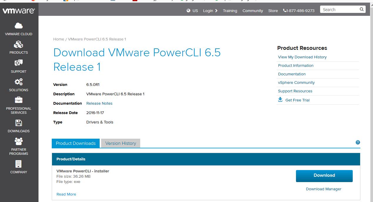 скачать  VMware PowerCLIс сайта VMWare