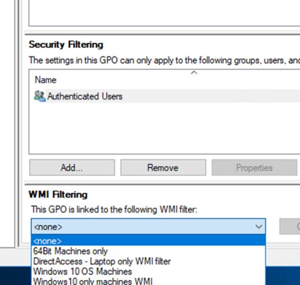 WMI фильтры GPO