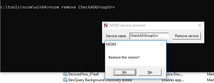 nssm remove - удалить службу windows