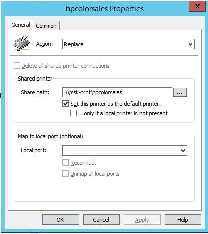 подключение сеетвого принтера с принте сервера gpo