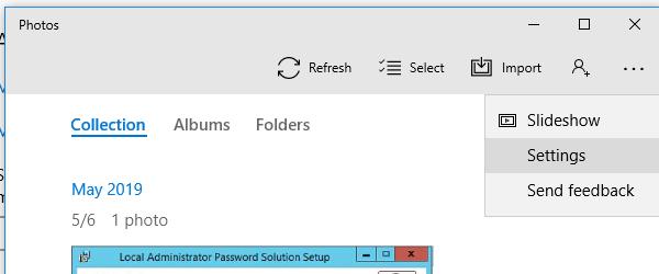 настройки приложения Фотографии/Photos в Windows 10