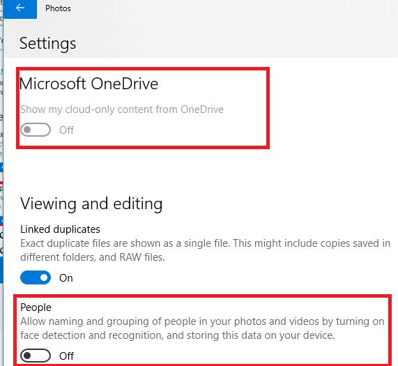 photos - отключить OneDrive и People