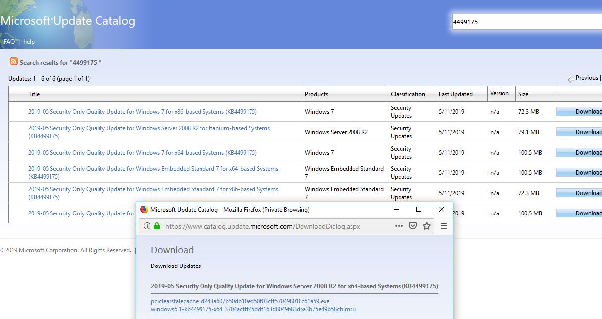 скачать обновления windows для зашиты от уязвимости CVE-2019-0708 Remote Desktop Services