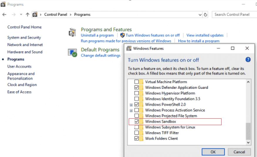 включить Sandbox в Windows 10