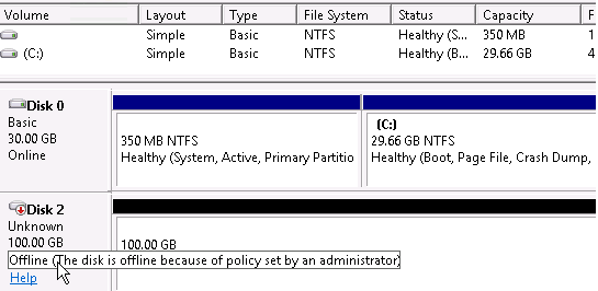 windows server 2016 Offline (The disk is offline because of policy set by an administrator).