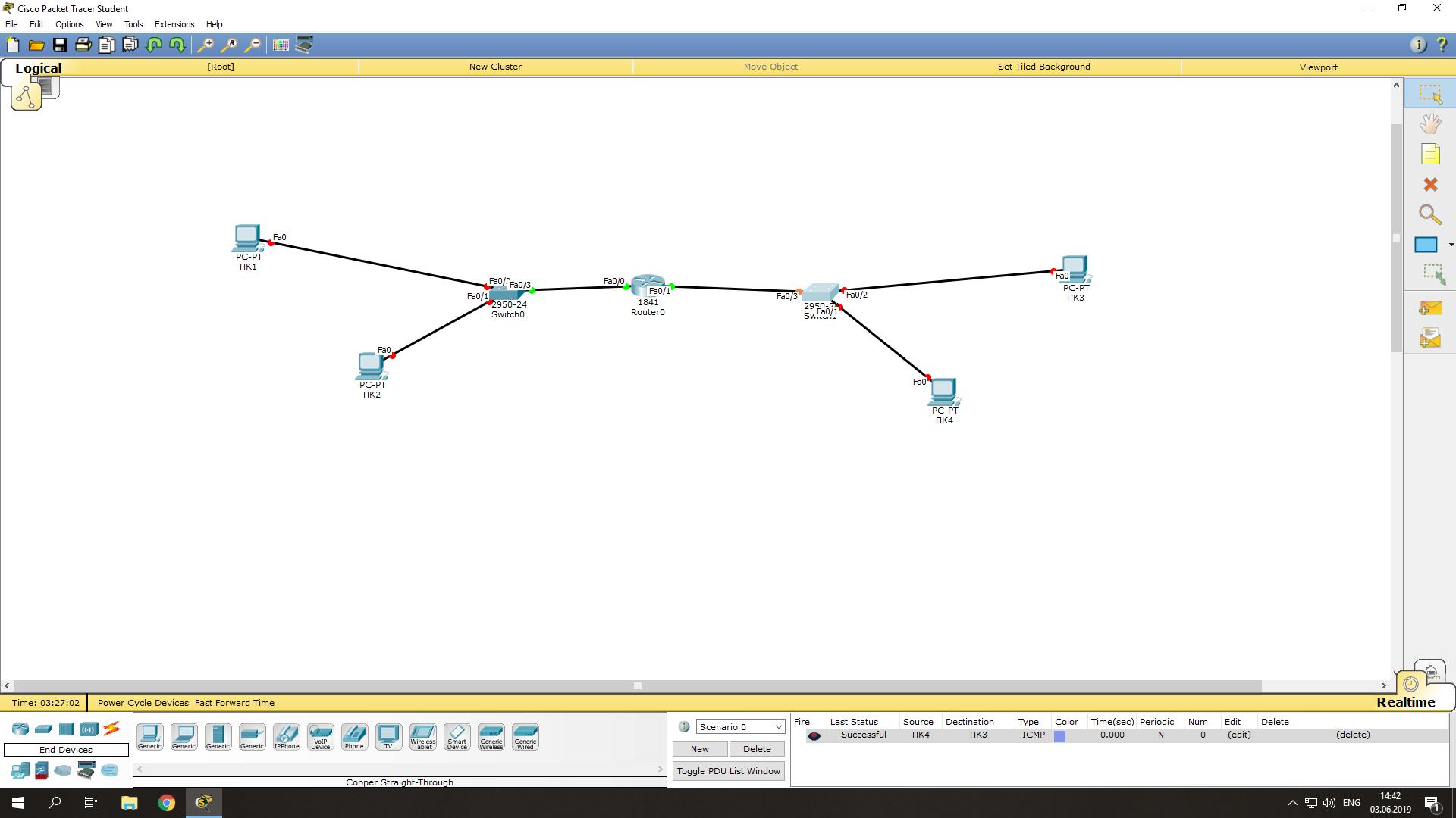 настройка IP адресов оборудования в Cisco Packet Tracer