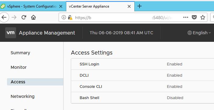 включить ssh в vcenter server appliance