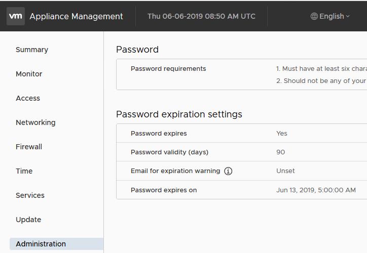 vmware appliance - password expiration settings