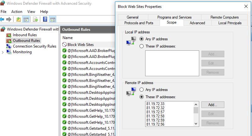 block web sites правило в консоли windows defender firewall