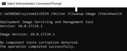 DISM /CheckHealth - проверка повреждений в образе windows