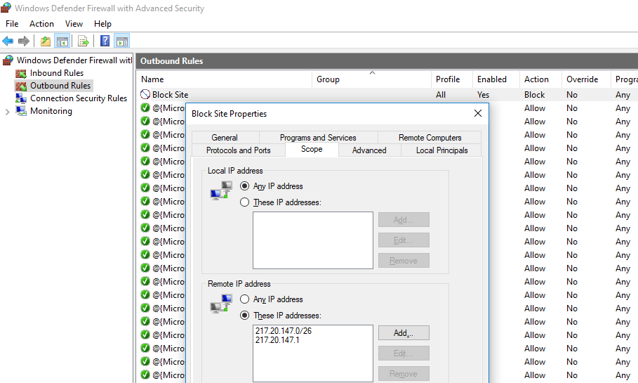 правило блокировки IP адресов в брандмауэере windows
