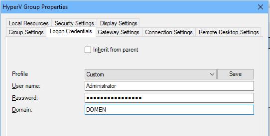 RDCMan сохраненеи пароля администратора для RDP подключения