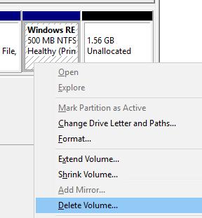 Удалить раздел восстановления recovery в Windows